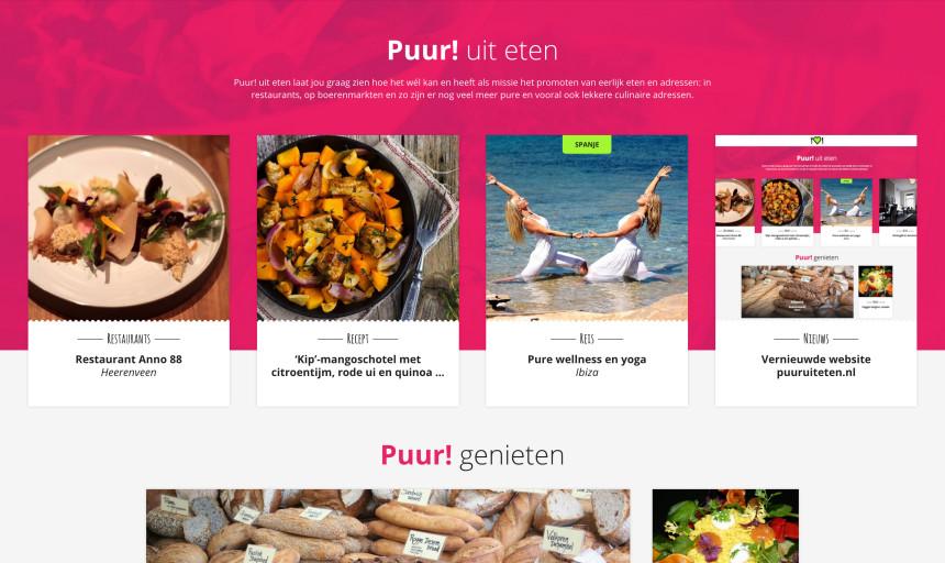 Nieuwe website Puur! uit eten puuruiteten puuruiteten.nl pure hofspots biologisch duurzaam